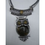 Gemstone Choker 16 Inch with Lobster Claw Clasp and 2 Inch Extension - Owl - Tiger Eye