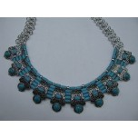Gemstone Choker 16 Inch with Lobster Claw Clasp and 2 Inch Extension - Sky Blue Disk