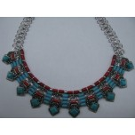 Gemstone Choker 16 Inch with Lobster Claw Clasp and 2 Inch Extension - Sky Blue Diamond 2-Tone