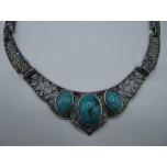 Gemstone Choker 16 Inch with Lobster Claw Clasp and 2 Inch Extension - Tri-Stone - Turquoise Color