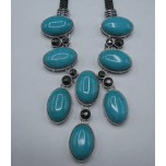 Gemstone Necklace with Lobster Claw Clasp and 2 Inch Extension - Sky Blue Oval