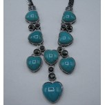 Gemstone Necklace with Lobster Claw Clasp and 2 Inch Extension - Sky Blue Heart
