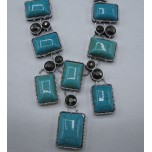Gemstone Necklace with Lobster Claw Clasp and 2 Inch Extension - Sky Blue Rectangle