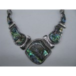 Framed Gemstone Necklace with Lobster Claw Clasp and 2 Inch Extension - Free Form - Abalone Shell