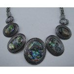Framed Gemstone Necklace with Lobster Claw Clasp and 2 Inch Extension - Oval - Abalone Shell