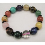 12mm  Mixed Gemstone Bead Bracelet