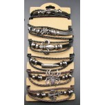 Goth Style Leather Bracelet - 6pc Pack