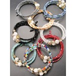 Memory Wire Bead Bracelet - Round Bead - Assorted Colors Available!