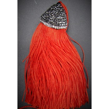 Large Silky Tassel with Crystal Cap