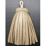 Studded Top Leather Tassel - Gold