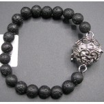 8mm Lava Round Bead Bracelet w/Cage Locket Black