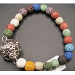 8mm Lava Round Bead Bracelet w/Cage Locket Multicolor