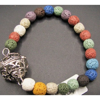 8mm Lava Round Bead Bracelet w/Cage Locket Multicolor