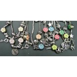 Large Flower Bead Bracelet with Charms - Several Colors Available!