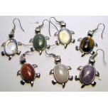 Gemstone Turtle Earrings  - Silver Color