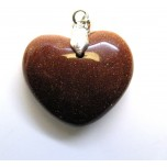 Small Heart with Bail - Goldstone