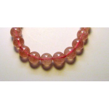 12mm Gemstone Round Bead Bracelet - Lepidochrosite (Natural Strawberry) Quartz