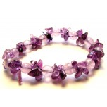 Gemstone Round Bead and Chip Bracelet - Amethyst