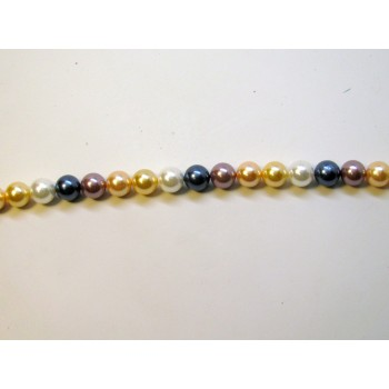 10mm Mixed Color Shell Pearl Bead Strand