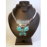 Gemstone Choker 16 Inch with Lobster Claw Clasp and 2 Inch Extension - Butterfly - Turquoise Color