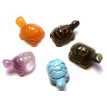 Turtle Carved Fetish Bead 0.75 Inch - Assorted Stones