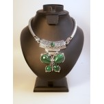 Gemstone Choker 16 Inch with Lobster Claw Clasp and 2 Inch Extension - Butterfly - Malachite Color