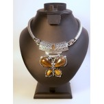 Gemstone Choker 16 Inch with Lobster Claw Clasp and 2 Inch Extension - Butterfly - Tiger Eye