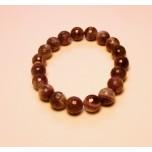 10 mm Faceted Round Bead Gemstone Stretch Bracelet - Amethyst