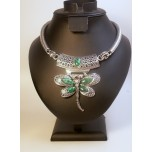 Gemstone Choker 16 Inch with Lobster Claw Clasp and 2 Inch Extension - Dragonfly - Malachite Color