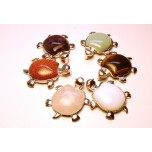 Gemstone Turtle Pendant - Assorted Stones