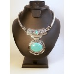 Gemstone Choker 16 Inch with Lobster Claw Clasp and 2 Inch Extension - Disk - Turquoise color