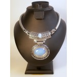 Gemstone Choker 16 Inch with Lobster Claw Clasp and 2 Inch Extension - Disk - Opalite