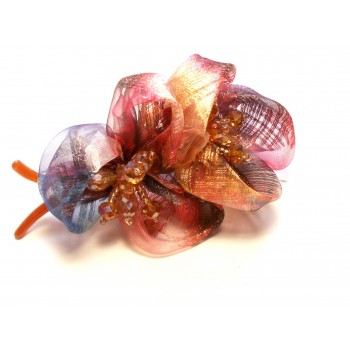 Fashion Hair Clip with Multi Color Ribbon and Bead Accent - Style 1