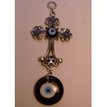 Metal Pendant - Blue Eye with Cross