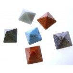 Pyramid Carved Fetish Bead 0.75 Inch - Assorted Stones
