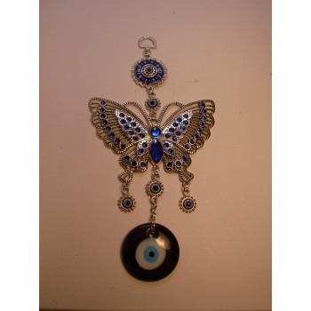 Metal Pendant - Blue Eye with Butterfly
