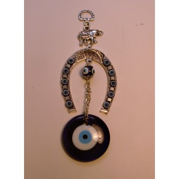 Metal Pendant - Blue Eye with Horseshoe