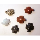 Sea Turtle Carved Fetish Bead 0.75 Inch - Assorted Stones