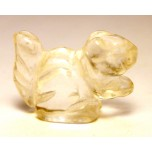 Squirrel Carved Fetish Bead 0.75 Inch - Clear Quartz
