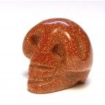 Skull Carved Fetish Bead 0.75 Inch - Goldstone