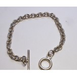 7 1/2 Inch Charm Chain Bracelet Rhodium Plated