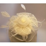 Fashion Hair Clip with Mesh Flower, Feathers - Ivory