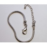 7 Inch Large Hole Rhodium Plated Bracelet with Lobster Clasp and Extension