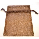 Organza Pouch Large 10 piece pack - Brown with Silver Threads