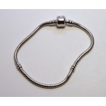 7.5 Inch Large Hole Rhodium Plated Bracelet with Snap Clasp