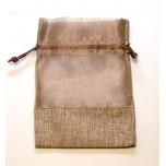Organza and Burlap Pouch Large 10 piece pack - Brown