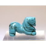 Lion Carved Fetish Bead 0.75 Inch - Howlite Turquoise