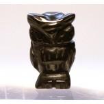 Owl Carved Fetish Bead 0.75 Inch - Obsidian Black