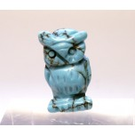 Owl Carved Fetish Bead 0.75 Inch - Howlite Turquoise