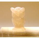 Owl Carved Fetish Bead 0.75 Inch - Rose Quartz